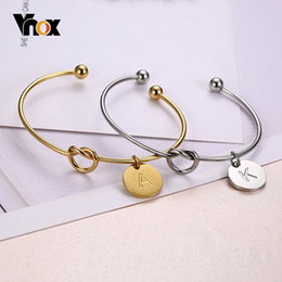 Discount stainless steel letters for bracelets - Vnox Trendy Initial Coin Charm Bangle for Women Stainless Steel Letter Cuff Bracelet Couple Jewelry