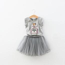Christmas Perfumes NZ - Children's Clothing Summer Girls Sequin Bow Perfume Bottle T-shirt + Skirt epacket
