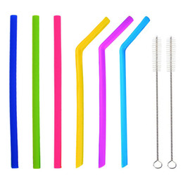 oz tumblers NZ - UPORS 6Pcs Set Reusable Silicone Drinking Straws BPA Free Rough Fine Flexible Straws with 2 Cleaning Brush for 20 30 oz Tumblers