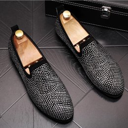 Man Rivet Shoes Australia - Fashion Gold Spiked Loafers Luxury Men Round Toe Bling Sequins Banque Wedding Shoes Male Slip On Rivets Men Shoes W296