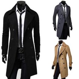 $enCountryForm.capitalKeyWord Australia - 2019 New Brand Winter Mens Long Pea Coat Men's Wool Coat Turn down Collar Double Breasted Men Trench Coat M-XXXL