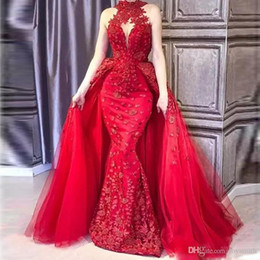glamorous red mermaid prom dresses 2021 - Glamorous Red Detachable Train Evening Gowns High Neck Appliques Beaded Red Carpet Dress Saudi Arabic DuBai Celebrity Prom Gowns