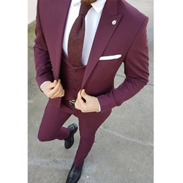 $enCountryForm.capitalKeyWord NZ - Three Piece Burgundy Men Suits for Groomsmen Tuxedos 2019 Peaked Lapel Blazer Latest Style Jacket Pants Vest