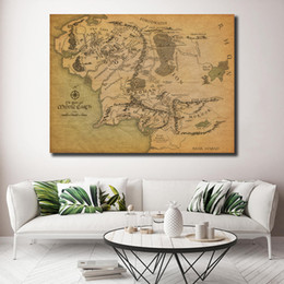 maps for kids UK - Lord Of The Rings HD Middle Earth Map Movies Canvas Prints Picture Modular Paintings For Living Room Poster On The Wall Kids Room Decor