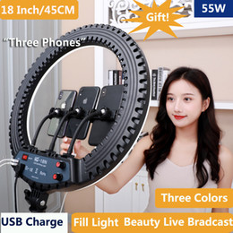 18 inç / 45 cm LED Canlı Yüzük Işık 55 W Lambası Ile 210 cm Tripod Standı Dim 5500 K Telefon Kamera Için YouTube Video Makyaj Fotoğrafçılık Çekim