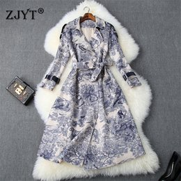 Wholesale women autumn winter trench coat outerwear resale online - Runway Designer Autumn Winter Long Trench Coat for Women Fashion Lace Up Retro Animal Print Suede Leather Coats Outerwear