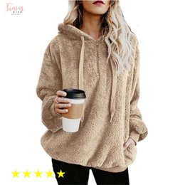 Wholesale green flannel pullover for sale – custom Velvet New Jumper Hooded Sweater Women Solid Color Plus Flannel Warm Womens Tops Coat Hot Colors Pullovers Mujer