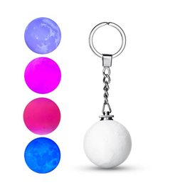 key chain battery Canada - Novelty Mini 3D Print Moon Lamp Colorful Change 4cm Moon light Keychain Pendant Lamp Key Chain Ring Portable Hanging Flashlight Decor gift