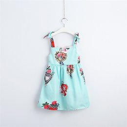 Cotton Floral Gowns Australia - Designer Quality Cotton Princess Little Girls Floral Dresses INS Flower Printing Sleeve Sleeveless Square Collar A-line Child Girls Clothing