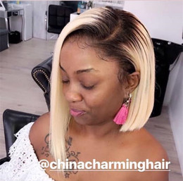 613 Lace Australia - Full Lace Human Hair Wig Bob Blonde Color Ombre 613 Brazilian virgin Hair side part Pre Plucked Hairline Lace Front Wig Bleached Knots