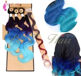 Ombre Blue Purple Body Wave Hair Australia - Black Light Blue Synthetic Body Wave Hair weaving Ombre green purple Three tone ombre brown purple blue hair weaving synthetic 3pieces lot