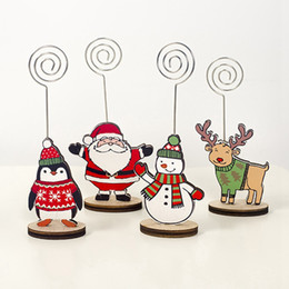 Table clips online shopping - Christmas Decorations For Home Table Place Snowflake Wood Stand Desktop Photo Memo Note Clip Santa Claus Party