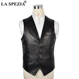Genuine Sheepskin Leather NZ - LA SPEZIA Plus Size 5xl Vests Men Black Genuine Leather Waistcoat Male Sheepskin Pockets Slim Business Winter Sleeveless Jackets