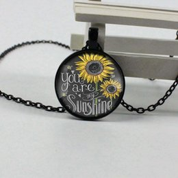 Sun Picture Australia - Vintage Neckalce You are my Sun Picture Pendant Sunflower Necklace Women Glass Necklace Gift QH43