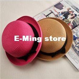 Fallen Hats Australia - Designer Ladies Elegant Small Straw Beach Hats With A Bow Womens Spring Summer Fall Beach Brimmed Sun Visors Honey Fishing Bucket Caps Sale