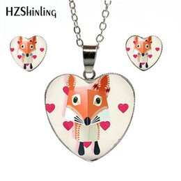 $enCountryForm.capitalKeyWord Australia - New Fashion Cartoon Cute Red Fox Photos Heart Jewelry Set Silver Chains Hand Craft Heart Pendants and Earrings