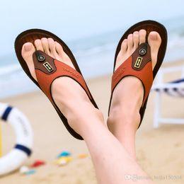 $enCountryForm.capitalKeyWord Australia - 2019 newest designer sandals Leather flip-flops causal Non-slip summer huaraches slippers flip flops slippers summer outdoor beach slippers
