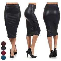 Faux red leather skirts online shopping - Pencil Skirt Skirts For Women New Fashion Newly Women Faux Leather Bodycon Skirt Solid Sexy Ol Office Skirts Good Quality Drop Shipping
