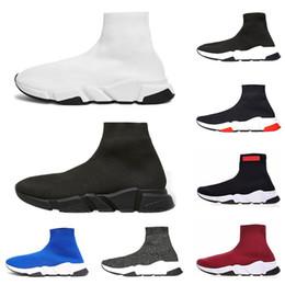 2019 Balenciaga designer Speed Trainer Luxury Brand Scarpe nero bianco  rosso Flat Fashion Socks Stivali Sneakers moda Scarpe da ginnastica Runner  taglia 36- ... df682808ee4