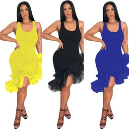 Wholesale sexy latin for sale - Group buy Women Latin Dancing Party Sexy Vest Skirt Mid calf Length Ruffles Dress Irregular Organza Fishtail Hem Sleeveless Strap Dresses C425