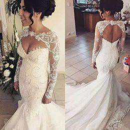 Discount satin keyhole back wedding dress - Azzaria Haute mermaid wedding dresses with Long Sleeve 2018 Plus Size Backless Vintage Beaded lace Wedding Gown keyhole
