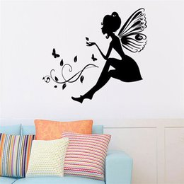 Wall Stickers For Kids Australia - 1PC Wall Stickers For Kids Rooms Butterfly Flower Fairy Wall Stickers Bedroom Decoration muraux adesivo de parede N26