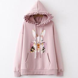 Cartoon Rabbit Hoodies Australia - Cute Cartoon Rabbit Print Hooded Hoodie For Women Elegant Harajuku Warm Fleece Sweatshirts Velvet Pullovers