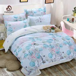 Double Color Bedding Australia - ParkShin Bedding Set Comforter Leaf Duvet Cover Nordic Double Bed Sheet Bedspread Queen King Pillow Cases Adult Bed Linens Set
