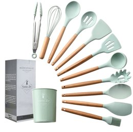 $enCountryForm.capitalKeyWord Australia - Whole sale 12pcs set Kitchen Silicone Cooking Tools Utensil Gadgets Silicone Wooden Handle Spoon Bush Ladle Nonstick Cookware Baking Tools
