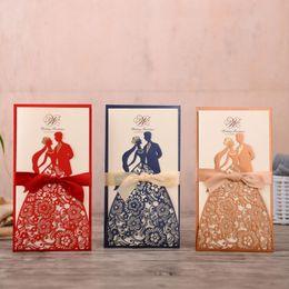 Custom wedding invitations online shopping - 50pcs Laser Cut Wedding Invitations Card Bride and Groom Elegant Greeting Cards with Ribbon Custom Wedding Party Favor Supplies