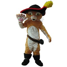 puss boots cat costume UK - costumes Puss In Boots Mascot Costume Pussy Cat Mascot Costume Free Shipping