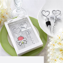 wedding corkscrew openers 2020 - Wine Bottle Opener Heart Shape High Quality Combination Wine Corkscrew and Stopper Wedding Gift Party Favors For Kitchen