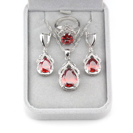 Silver Costume Jewelry Rings Australia - Elegant Women Bridal Jewelry Sets 925 Sterling Silver Costume Red Rhodolite Earrings And Necklace Pendant Ring Size 6 7 8 9 10