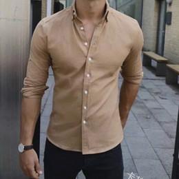 Clothes Single Australia - 2019 Summer Business Leisure Single-row Button Men's Tops Quality Solid Collar Long Sleeve Fashion Shirt Men's Clothing Shirt