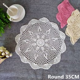 $enCountryForm.capitalKeyWord NZ - Korean Crochet Flowers Lace Cloth Drink Mat Coffee Dining Table Placemats Wedding Doilies Napkins Towels For Kitchen Home
