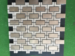 mosaic tile wall art NZ - 3D Art Mosaic Stone Marble Mix Stainless Steel Metal Tile Backsplash Gold Silver Black Metal Stone Mosaic Wall Tile