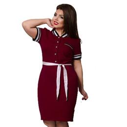 Dress Big Size Knees NZ - New Designer Polo Dress Women Plus Big Size Knee Length Maxi 6xl Oversized Straigth Patchwork Vestidos Sashes Gift Q190511