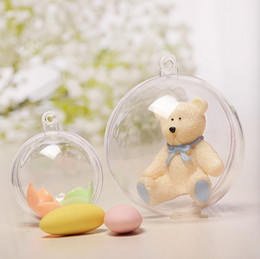 Flower Christmas Ornament Australia - Clear Transparent Plastic Ball Christmas Tree Ornament Party Wedding Decorations Open Round Hollow Balls Food Flower Candy Ball
