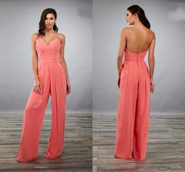 Lastest Designer Coral Bridesmaid Evening Jumpsuits Pantsuit Dresses with Spaghetti Straps Ruch Chiffon Long Wedding Party guest Dress
