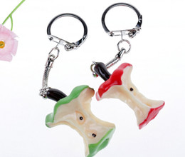 Green Plastic Gift Bags Australia - Red Green Apple Keychain Vintage Silver Charms Ring For Keys Car DIY Bag Key Chain Handbag Creative Fashion Jewelry Gifts Plastic Accessorie