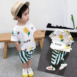 Old Suits Australia - Children's wear 2019 summer dress 1-3-5 years old baby short-sleeved summer suit new wave leisure Pineapple pattern0322