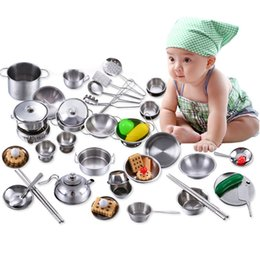 Discount cookware toys - Simulation Play House Toys Stainless Steel Kids Baby Kitchen Toys Cooking Cookware Kitchen Ware Suit Anti-fall Toy Suit