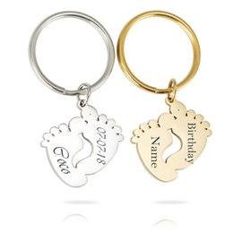 Baby Feet Silver Australia - Personalized Customized Names Birthday Baby Feet Keychains Stainless Steel Cute Feet Key Ring For Kids Birthday Gifts