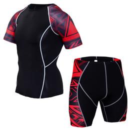 Training Shirts Basketball NZ - New 2019 summer fitness suit men's sport running tights quick dry sport T-shirt + shorts high quality basketball training set