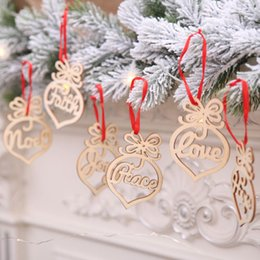 memorial lights NZ - 6Pcs Xmas Wooden Letter Words Tree Toppers Personalized Ornament Christmas Tree Gift Memorial Decoration Bauble Recycling Topper