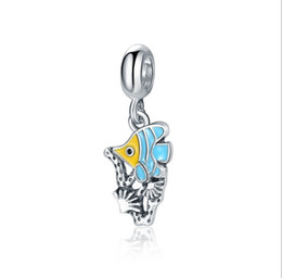 367851d79 Fits Pandora Sterling Silver Bracelet Summer Coral Fish Dangle Beads Charms  For European Snake Charm Chain Fashion DIY Jewelry Wholesale