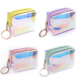little girls wallets Australia - 1 PC Laser Square Jelly Transparent Coin Purse Women Girl Lady PVC Mini Wallet Zipper Card Storage Bag Little Star Coin Purse