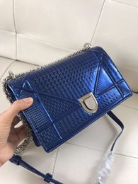 Blue Shiny Bags Australia - 25cm Large Size Women's Designer Logos Genuine Leather TOP Quality Chain Bags Blue Patent Shiny Leather Classic Shoulder bags