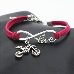$enCountryForm.capitalKeyWord Australia - Wholesale New Fashion Silver Infinity Love Motorcycle Autocycle Jewelry for women and men red leather rope bracelets Bangles nice Party gift