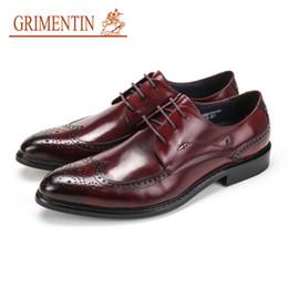 Italian Formal Shoes Australia - GRIMENTIN Hot sale men oxford shoes Italian fashion designer formal mens dress shoes genuine leather black brown business wedding mens shoes